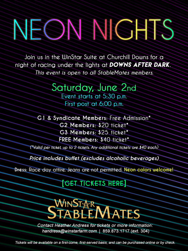 Join us in the WinStar Suite at Churchill Downs for a night of racing under the lights at DOWNS AFTER DARK.